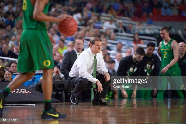 NCAA Final Four Oregon coach Dana Altman on court during game vs North Carolina at University of Phoenix Stadium Glendale AZ CREDIT Greg Nelson