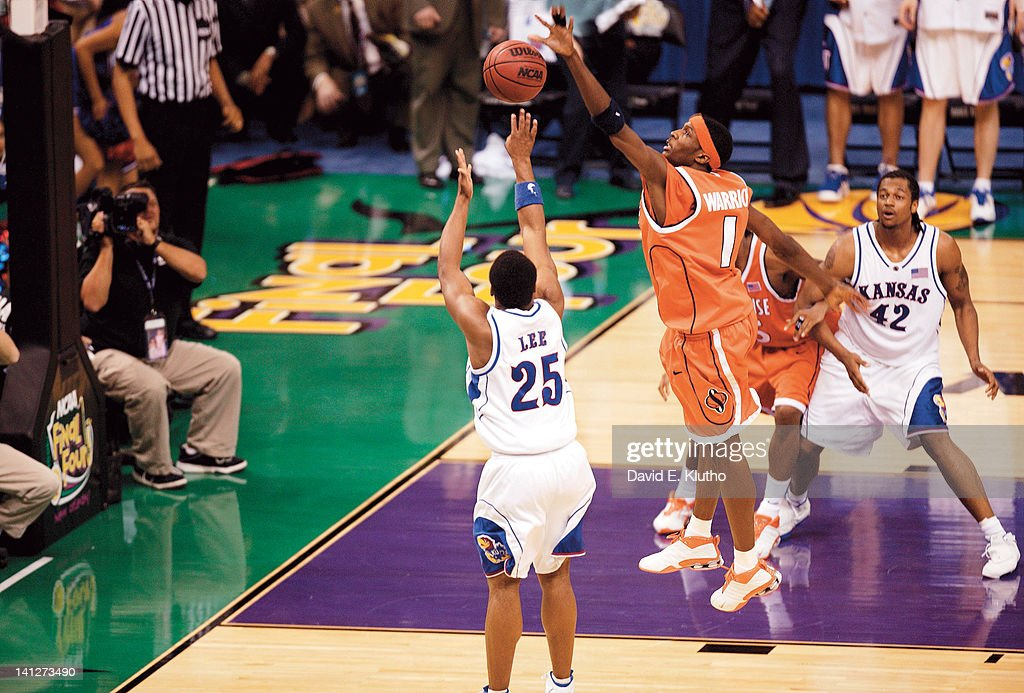 NCAA Final Four Syracuse Hakim Warrick in action making gamewinning block of threepoint attempt by Kansas Michael Lee at Louisiana Superdome New...