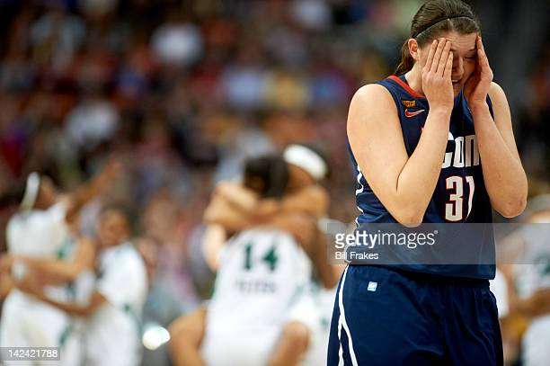 NCAA Final Four UConn Stefanie Dolson looking upset during game vs Notre Dame at Pepsi Center Denver CO CREDIT Bill Frakes