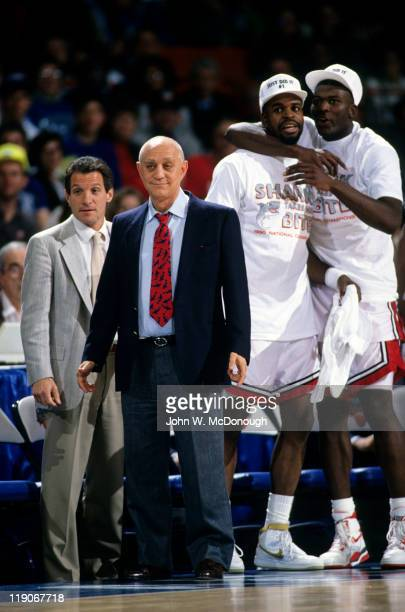 NCAA Final Four UNLV coach Jerry Tarkanian on sidelines during game vs Duke at McNichols Sports Arena Moses Scurry and Larry Johnson victorious in...