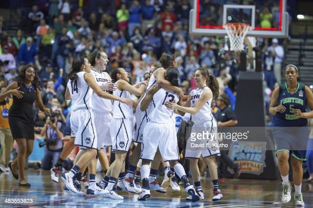 NCAA Final Four View of UConn team victorious after winning game vs Notre Dame at Bridgestone Arena Nashville TN CREDIT David E Klutho