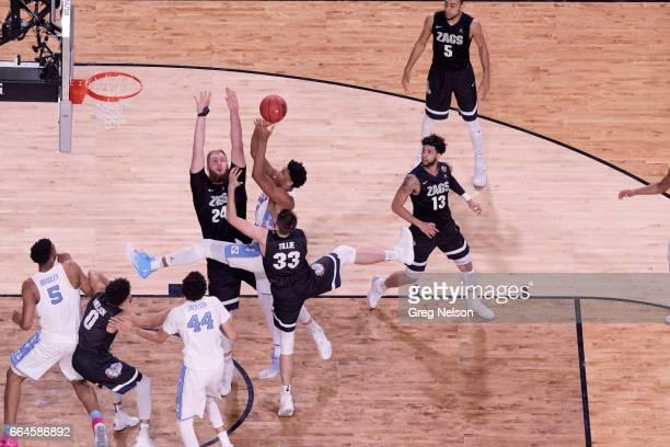 NCAA Finals Aerial view of North Carolina Isaiah Hicks in action vs Gonzaga Przemek Karnowski and Killian Tillie at University of Phoenix Stadium...