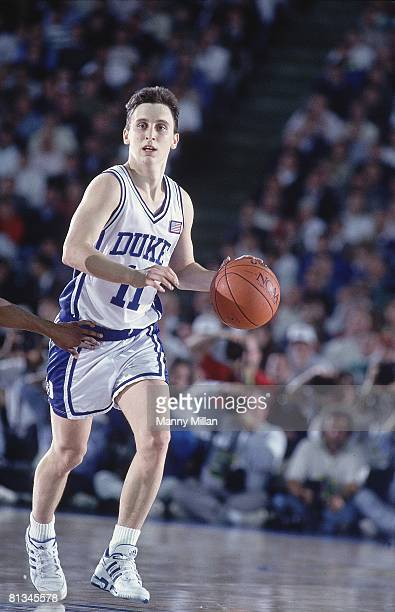 College Basketball NCAA finals Duke Bobby Hurley in action vs Kansas Indianapolis IN 4/1/1991