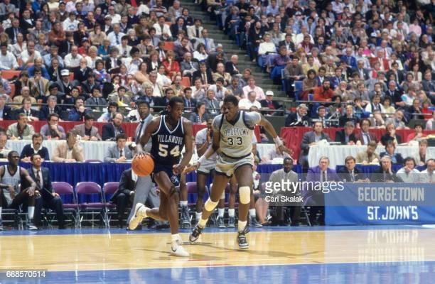 NCAA Finals Georgetown Patrick Ewing in action defense vs Villanova Ed Pinckney at Rupp Arena Lexington KY CREDIT Carl Skalak