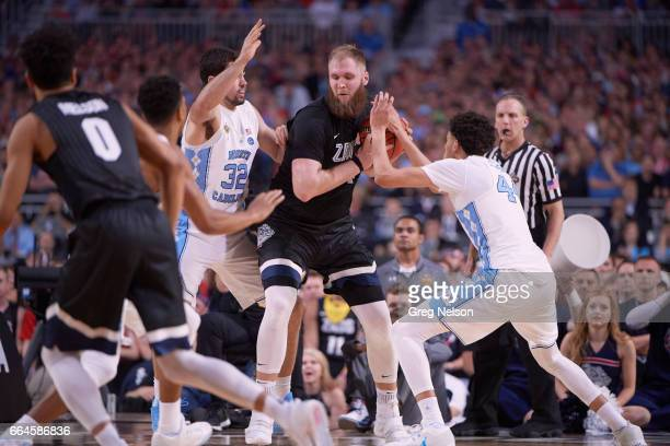 NCAA Finals Gonzaga Przemek Karnowski in action vs North Carolina Luke Maye and Justin Jackson at University of Phoenix Stadium Glendale AZ CREDIT...