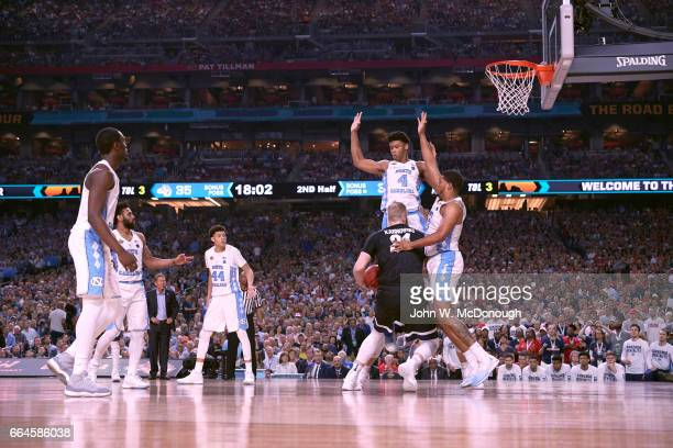 NCAA Finals North Carolina Isaiah Hicks and Kennedy Meeks in action defense vs Gonzaga Przemek Karnowski at University of Phoenix Stadium Glendale AZ...