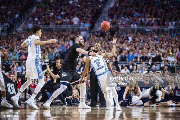 NCAA Finals North Carolina Joel Berry II in action being fouled vs Gonzaga Przemek Karnowski at University of Phoenix Stadium Glendale AZ CREDIT Greg...
