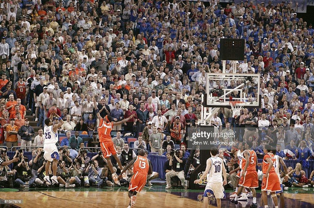 College Basketball NCAA Finals Syracuse Hakim Warrick in action making game winning block vs Kansas Michael Lee New Orleans LA 4/7/2003