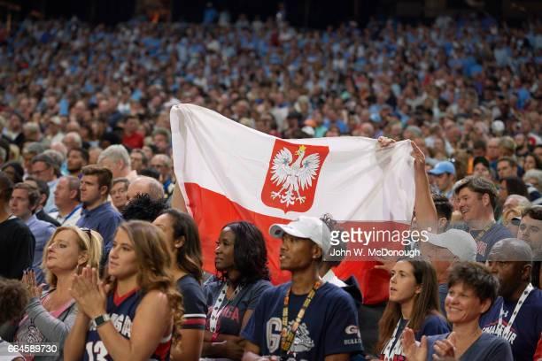 NCAA Finals View of Poland flag in stands to represent Gonzaga Przemek Karnowski during game vs North Carolina at University of Phoenix Stadium...