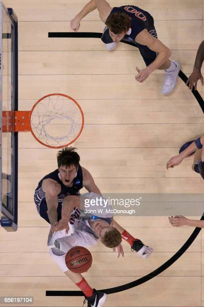 NCAA Playoffs Aerial view of Arizona Lauri Markkanen in action vs St Mary's Dane Pineau at Vivint Smart Home Arena Salt Lake City UT CREDIT John W...
