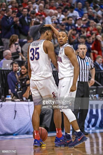 NCAA Playoffs Arizona Allonzo Trier and Parker JacksonCartwright on court during game vs St Mary's at Vivint Smart Home Arena Salt Lake City UT...