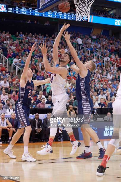 NCAA Playoffs Arizona Dusan Ristic in action vs St Mary's Dane Pineau at Vivint Smart Home Arena Salt Lake City UT CREDIT John W McDonough