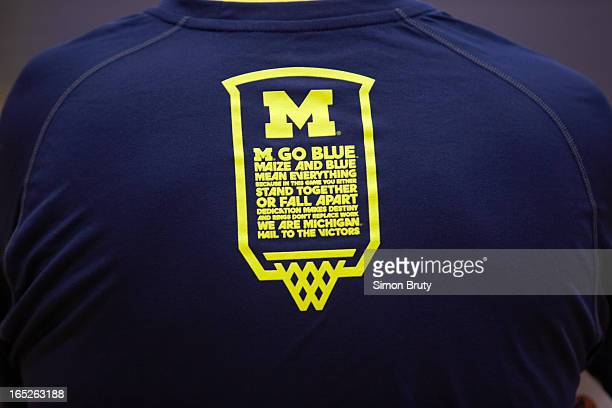 NCAA Playoffs Closeup of Michigan logo on shirt team during practice at Clarkston High School Behind the Scenes Day 1 Clarkston MI CREDIT Simon Bruty