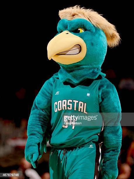 NCAA Playoffs Coastal Carolina mascot Chauncey on court during game vs Wisconsin at CenturyLink Center Omaha NE CREDIT Greg Nelson