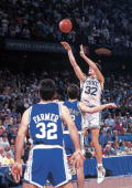 College Basketball NCAA Playoffs Duke Christian Laettner in action making game winning buzzer beating shot with 21 seconds left vs Kentucky...