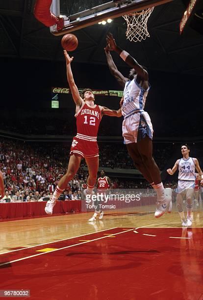 NCAA Playoffs Indiana Steve Alford in action shot vs North Carolina Michael Jordan Atlanta GA 3/23/1984 CREDIT Tony Tomsic