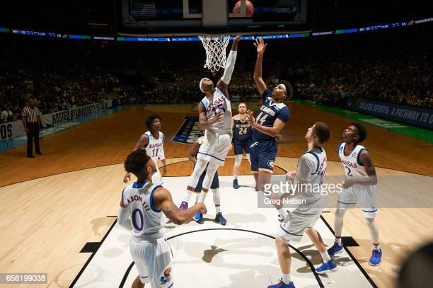 NCAA Playoffs Kansas Carlton Bragg Jr in action vs California Davis Garrison Goode at BOK Center Tulsa OK CREDIT Greg Nelson