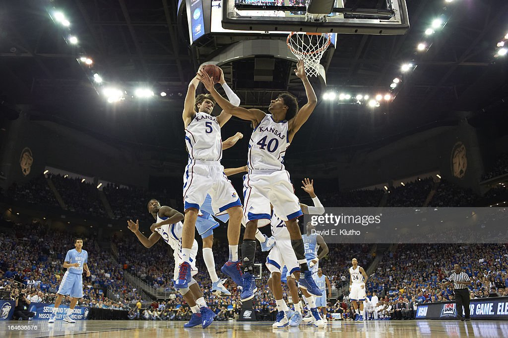 Kansas Jeff Withey (5) and Kevin Young (40) in action, getting rebound vs North Carolina at Sprint Center. David E. Klutho X156306 TK1 R2 F15 )