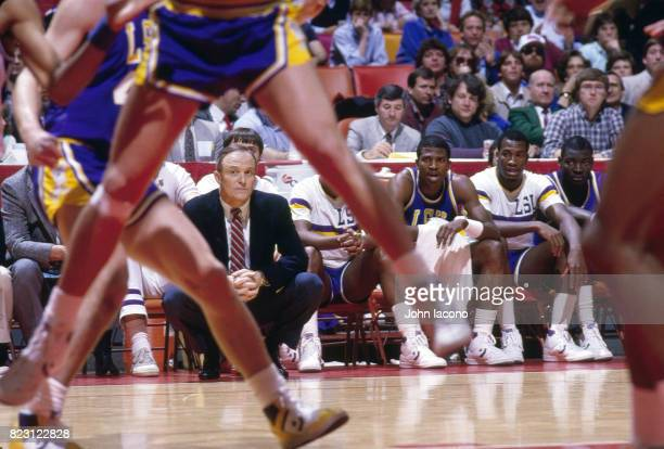 NCAA Playoffs Louisiana State head coach Dale Brown crouching on sidelines during game vs Georgia Tech at Omni Coliseum Atlanta GA CREDIT John Iacono