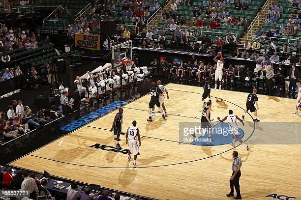 NCAA Playoffs Louisiana State Marcus Thornton in action three point shot vs Butler Greensboro NC 3/19/2009 CREDIT Bob Rosato