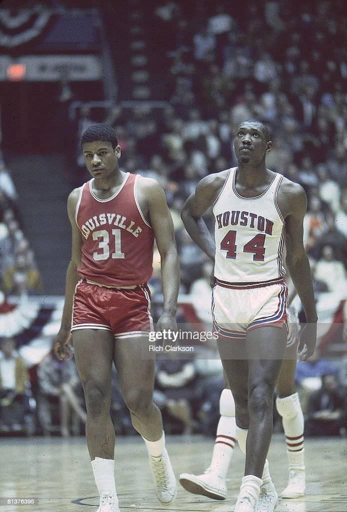 College Basketball NCAA Playoffs Louisville Wes Unseld and Houston Elvin Hayes on court during game Wichita KS 3/15/1968