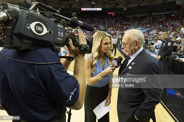 NCAA Playoffs Southern Methodist coach Larry Brown during interview with TruTV sideline reporter Allie LaForce after losing game vs UCLA at KFC Yum...