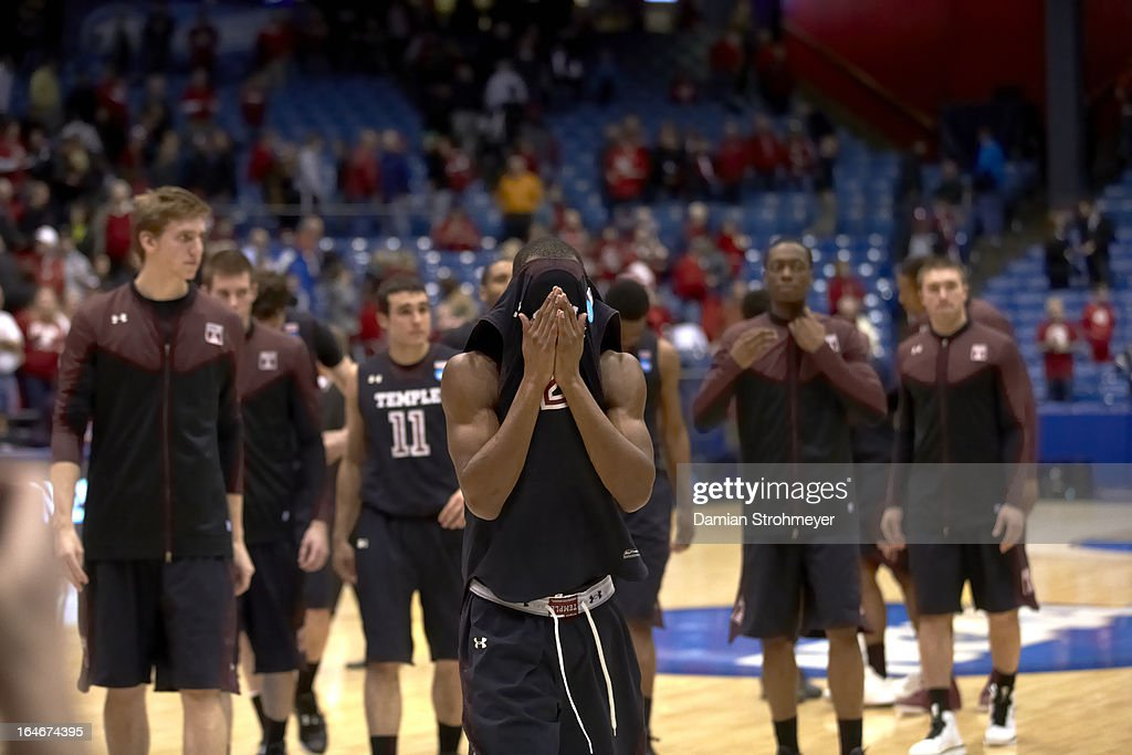 Temple Will Cummings (2) upset after losing game vs Indiana at University of Dayton Arena. Damian Strohmeyer X156305 TK2 R46 F124 )