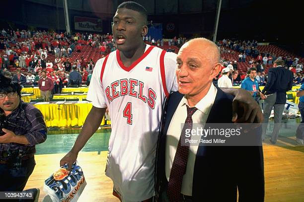 NCAA Playoffs UNLV coach Jerry Tarkanian and Larry Johnson victorious after winning game vs Seton Hall Seattle WA 3/23/1991 CREDIT Peter Read Miller