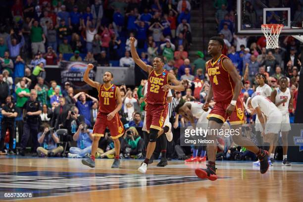NCAA Playoffs USC Jordan McLaughlin De'Anthony Melton and Chimezie Metu victorious during game vs SMU at Bon Secours Wellness Arena Greenville SC...