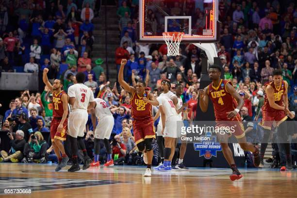 NCAA Playoffs USC Jordan McLaughlin De'Anthony Melton Chimezie Metu and Bennie Boatwright victorious during game vs SMU at Bon Secours Wellness Arena...