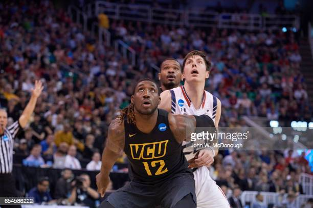 NCAA Playoffs Virginia Commonwealth Mo AlieCox in action vs St Mary's Dane Pineau at Vivint Smart Home Arena Salt Lake City UT CREDIT John W McDonough