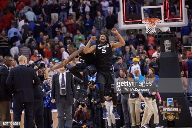 NCAA Playoffs Xavier Malcolm Bernard and Trevon Bluiett victorious during game vs Arizona at SAP Center San Jose CA CREDIT John W McDonough