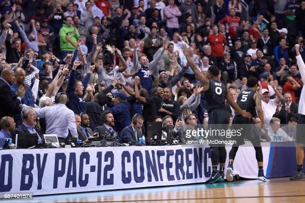NCAA Playoffs Xavier Trevon Bluiett and Tyrique Jones victorious during game vs Arizona at SAP Center San Jose CA CREDIT John W McDonough