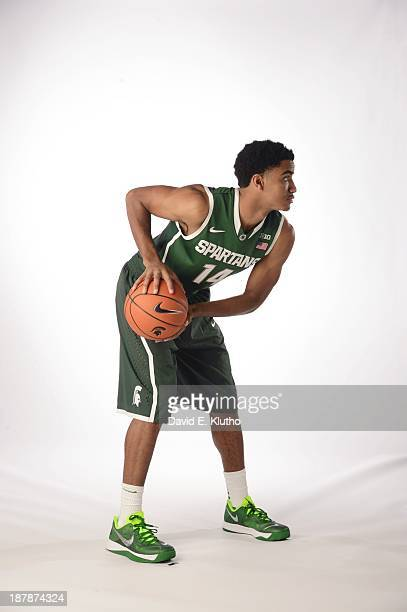 NCAA Season Preview Portrait of Michigan State guard Gary Harris during photo shoot at Hyatt Hotel Cover Rosemont IL CREDIT David E Klutho