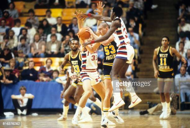 NCAA Tournament Fresno State Bobby Davis and Bernard Thompson in action vs West Virginia Phil Collins at Smith Spectrum Logan UT CREDIT Andy Hayt