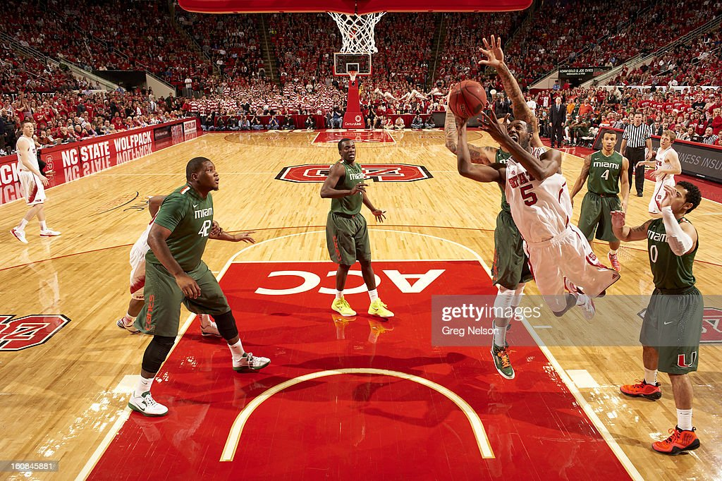 North Carolina C.J. Leslie (5) in action vs Miami at PNC Arena. Greg Nelson F68 )