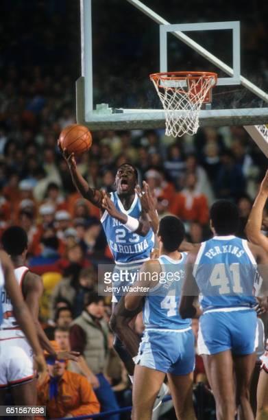 North Carolina Michael Jordan in action vs Syracuse at Manley Field House Syracuse NY CREDIT Jerry Wachter