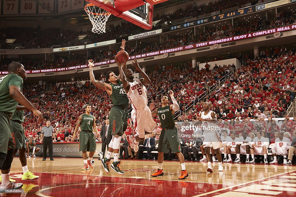 North Carolina State C.J. Leslie (5) in action vs Miami at PNC Arena. Greg Nelson F57 )