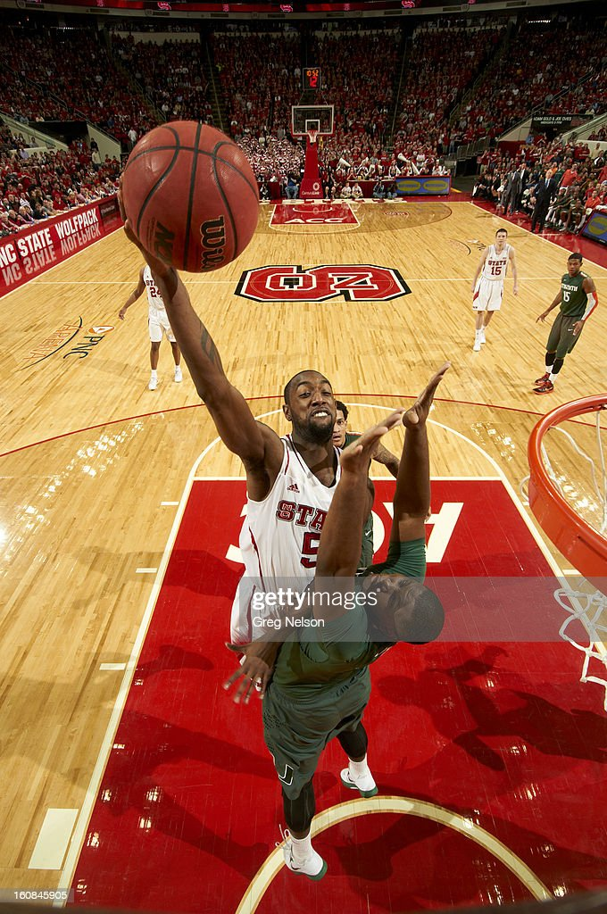 North Carolina State C.J. Leslie (5) in action vs Miami at PNC Arena. Greg Nelson F31 )