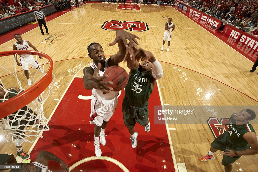 North Carolina State C.J. Leslie (5) in action vs Miami Kenny Kadji (35) at PNC Arena. Greg Nelson F28 )