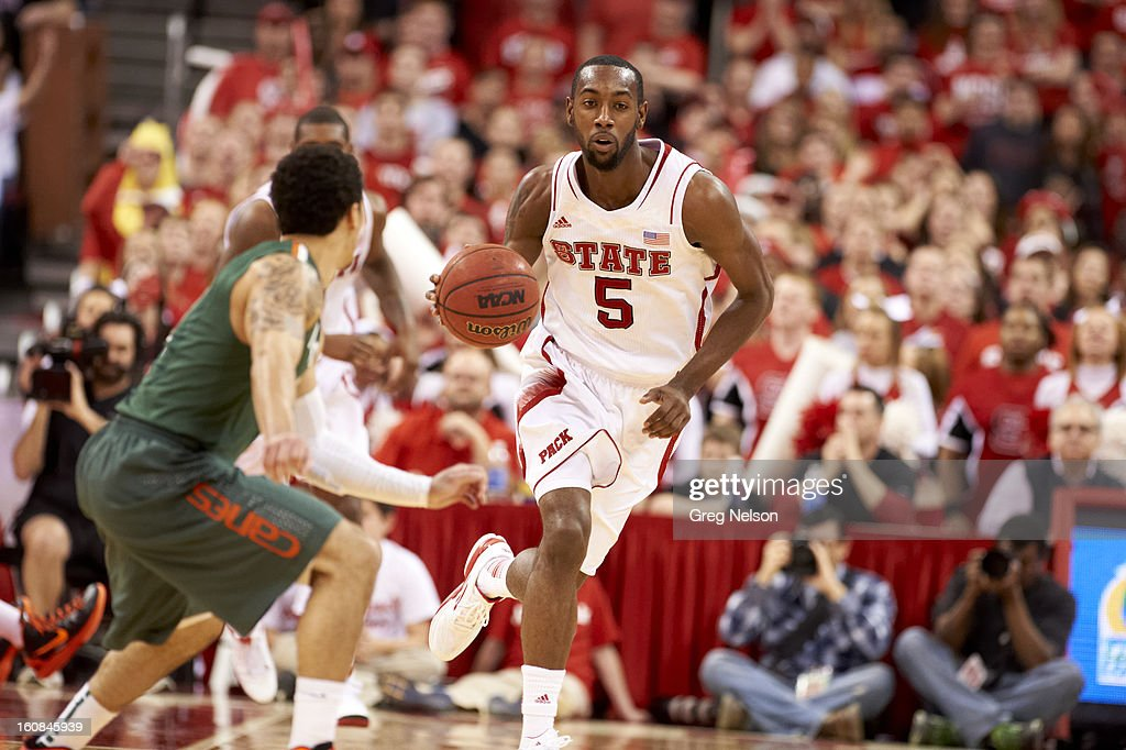 North Carolina State C.J. Leslie (5) in action vs Miami at PNC Arena. Greg Nelson F173 )