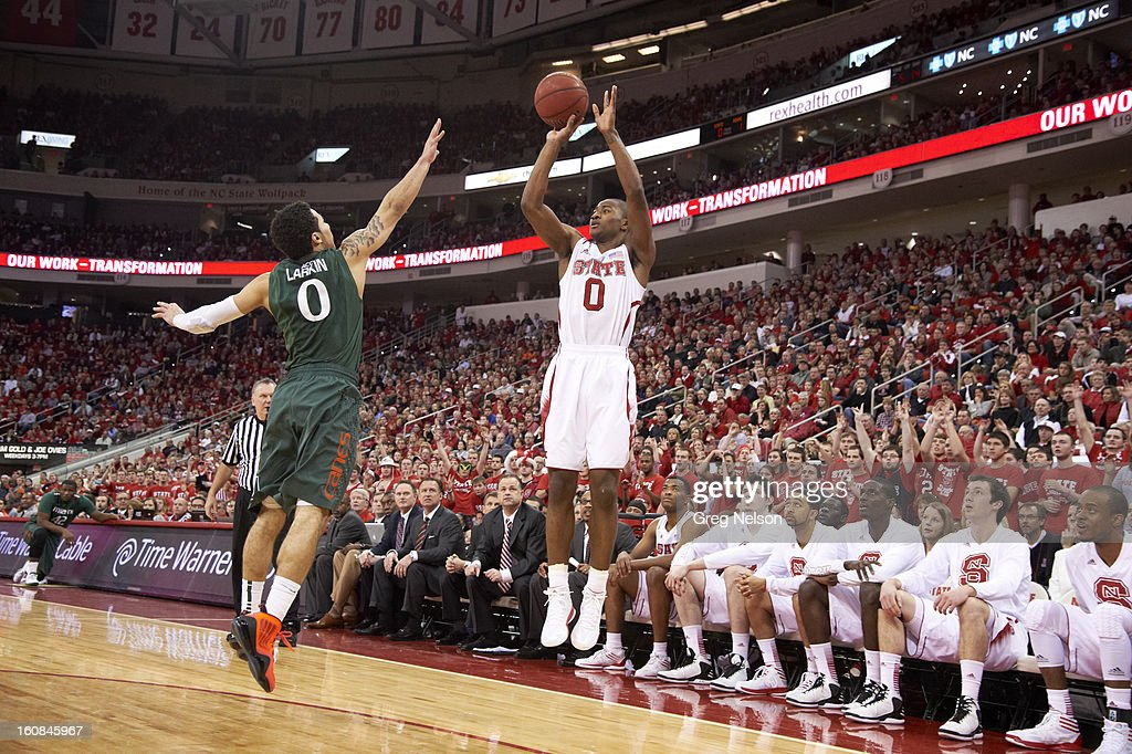 North Carolina State Rodney Purvis (0) in action, shooting vs Miami at PNC Arena. Greg Nelson F69 )