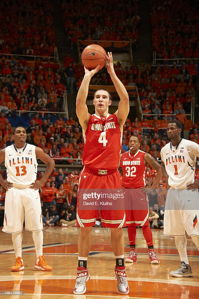 Ohio State Aaron Craft (4) during free throw vs Illinois at Assembly Hall. David E. Klutho F99 )