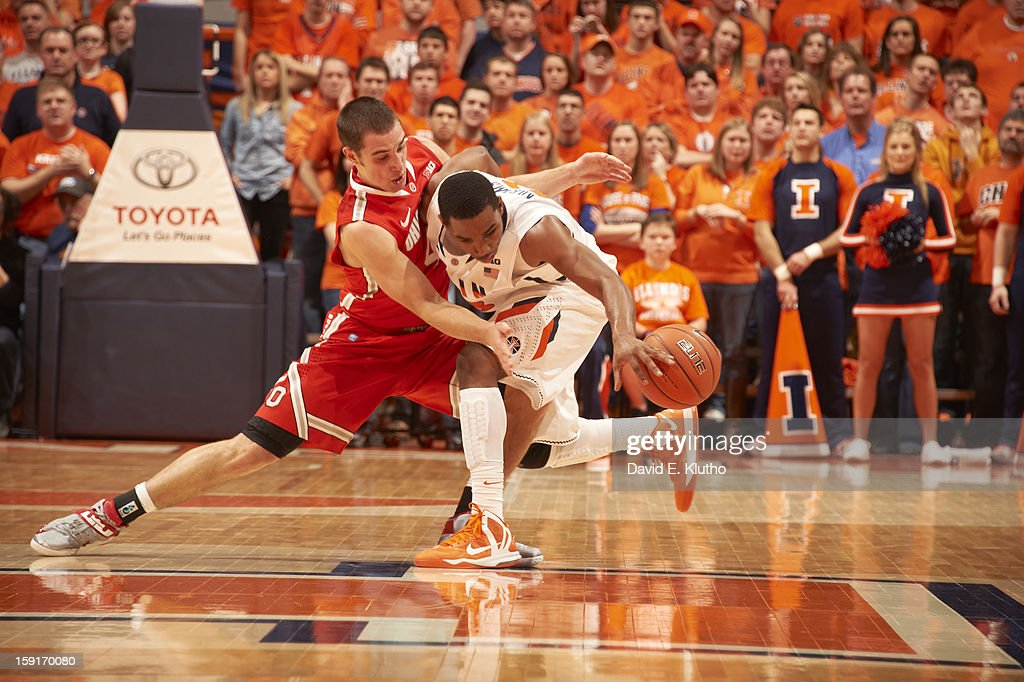 Ohio State Aaron Craft (4) in action, defense vs Illinois at Assembly Hall. David E. Klutho F112 )