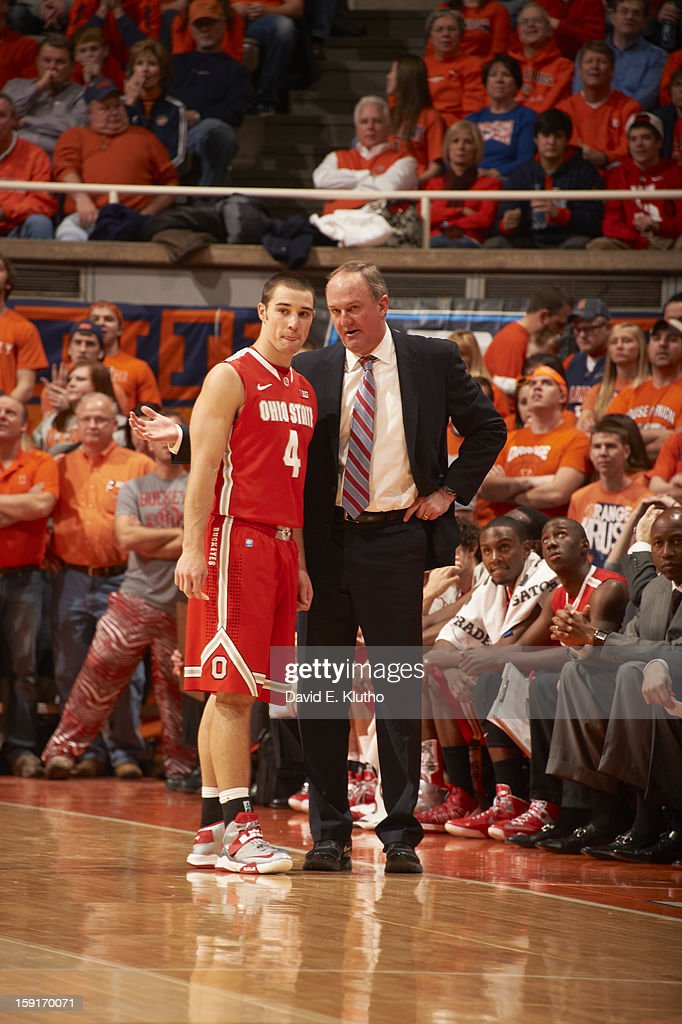 Ohio State Aaron Craft (4) with coach Thad Matta during game vs Illinois at Assembly Hall. David E. Klutho F63 )