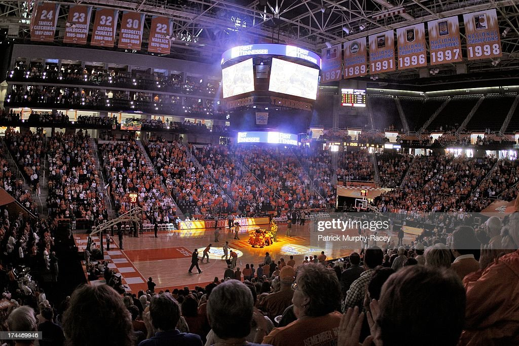 Overall view of Tennessee players in huddle on court before game vs TennesseeChattanooga at ThompsonBoling Arena Knoxville TN CREDIT Patrick...