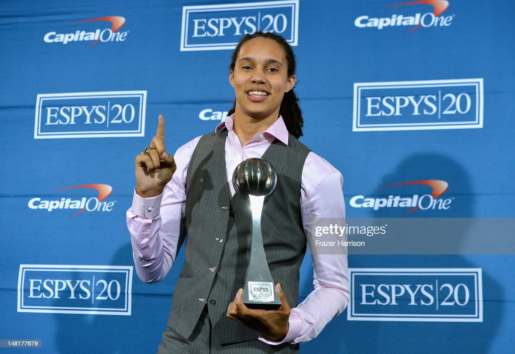 College basketball player <a gi-track='captionPersonalityLinkClicked' href=/galleries/search?phrase=Brittney+Griner&family=editorial&specificpeople=6836945 ng-click='$event.stopPropagation()'>Brittney Griner</a> poses with the Best Female Athlete Award in the press room during the 2012 ESPY Awards at Nokia Theatre L.A. Live on July 11, 2012 in Los Angeles, California.