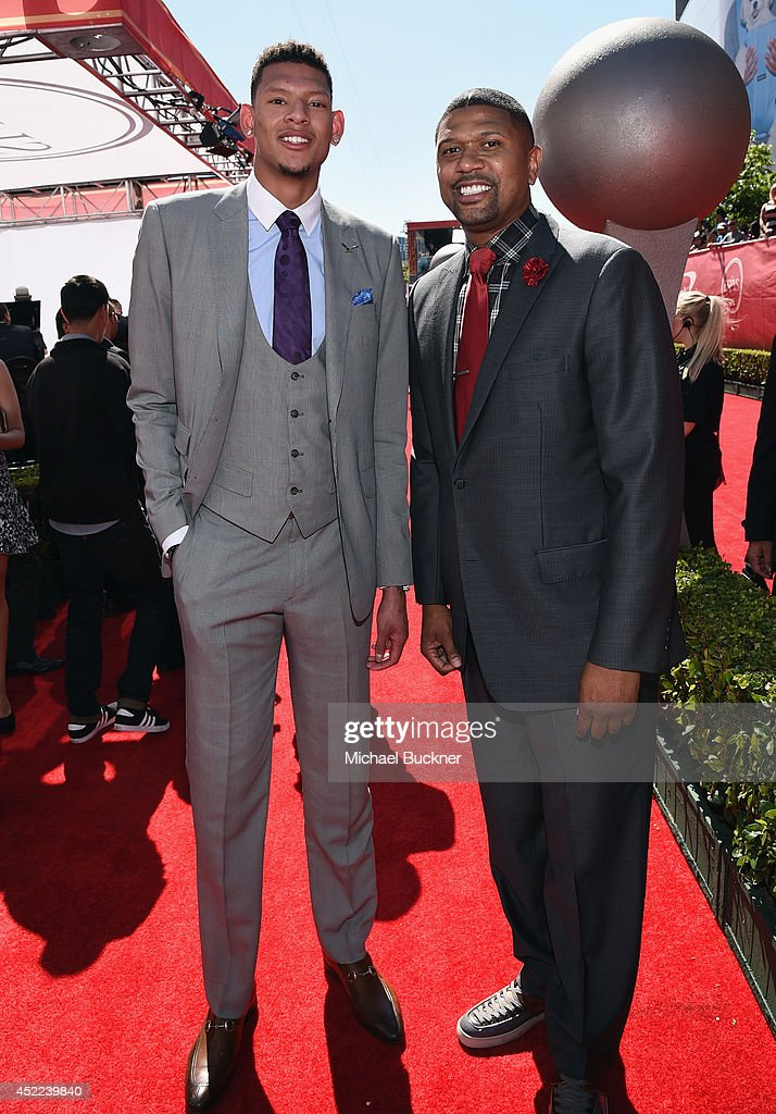 College basketball player Isaiah Austin and NBA personality Jalen Rose attend The 2014 ESPYS at Nokia Theatre L.A. Live on July 16, 2014 in Los Angeles, California.