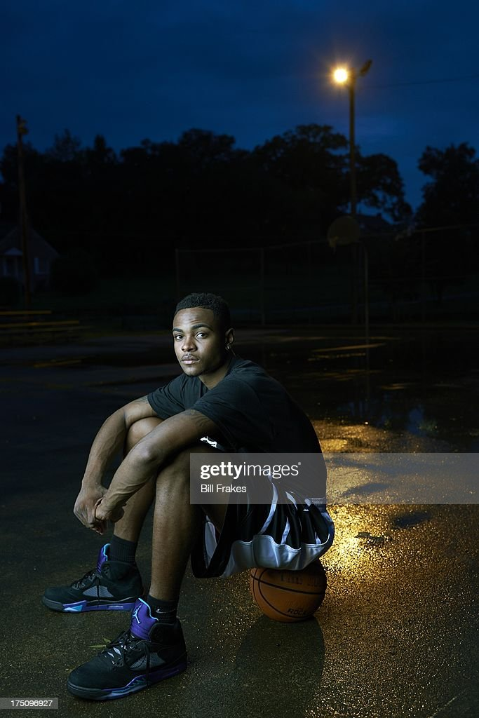 Portrait of Chipola College player Torian Graham during photo shoot on playground court. Graham, who has played at multiple colleges and high schools during his career, represents the high frequency of transfers over the last seven seasons. Bill Frakes F2 )