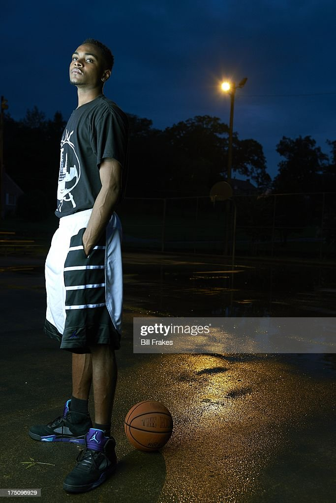 Portrait of Chipola College player Torian Graham during photo shoot on playground court. Graham, who has played at multiple colleges and high schools during his career, represents the high frequency of transfers over the last seven seasons. Bill Frakes F3 )